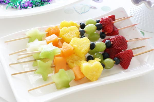 Rainbow fruit kabobs with star and heart shapes