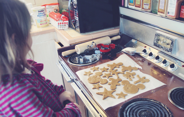Holiday cut out cookies with a toddler