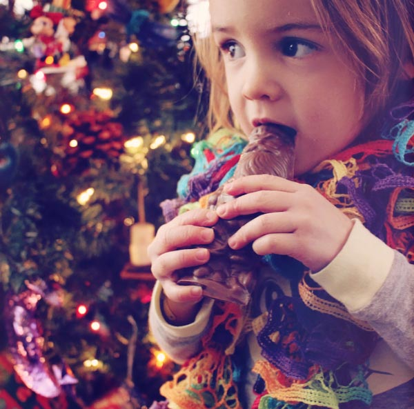 Peanut allergy toddler tasting chocolate