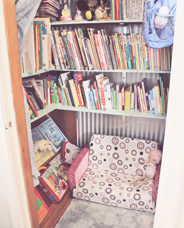 Closet turned into a library for our kid books. See more photos at http://everclevermom.com/2014/01/work-at-home-playroom-in-the-office-office-in-the-playroom/