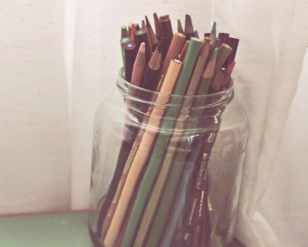 Store colored pencils for kids.  See more photos here: http://everclevermom.com/2014/01/create-a-toddler-art-corner-in-your-home/