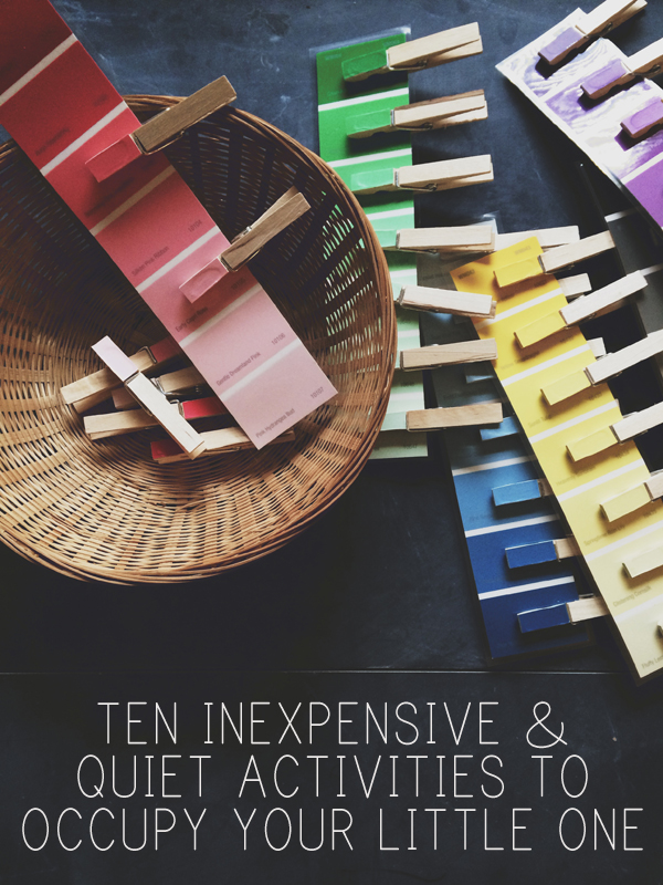 Color matching with clothespins. 10 ideas for quiet kid activities using inexpensive things you can get at the store. See the list here: http://everclevermom.com/2014/04/kid-ideas-10-inexpensive-activities-to-occupy-your-little-one/