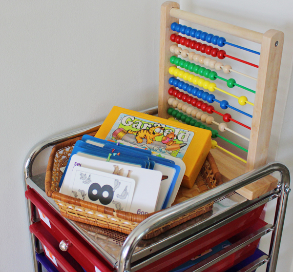 Homeschool organization - flashcards and supplies