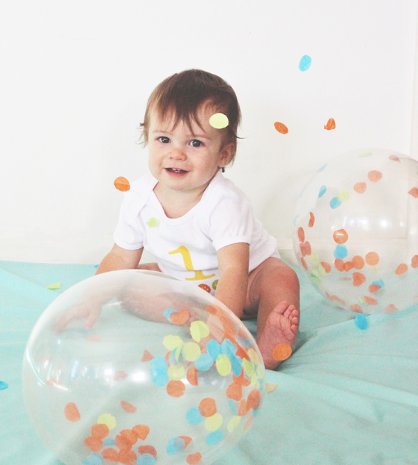 Tissue paper confetti balloons for a 1st birthday