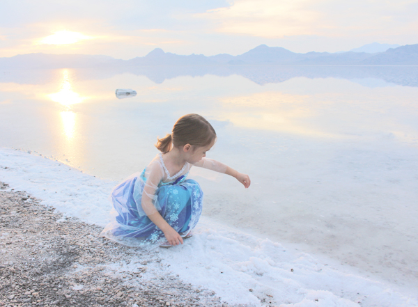 Bonneville salt flats sunset and Queen Elsa costume #FROZENFun  #shop