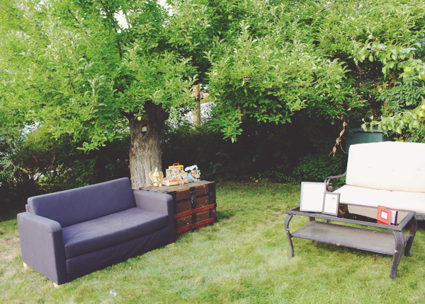 Outdoor seating area for birthday party