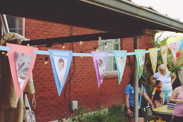 Easy paper pennant banner for first birthday party