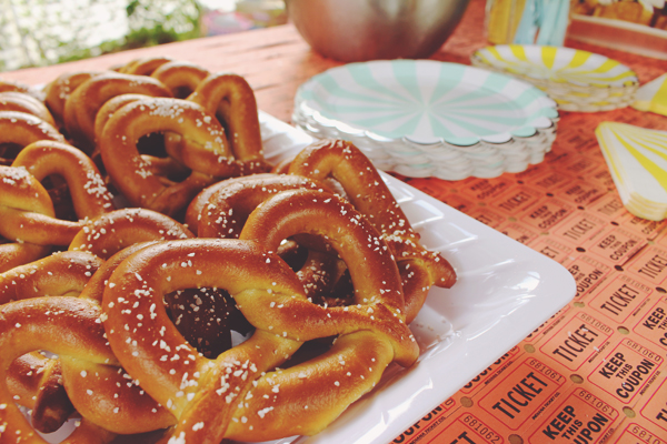 Soft pretzels for circus carnival birthday party