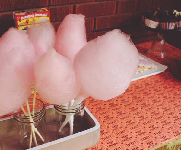 Homemade cotton candy at circus party