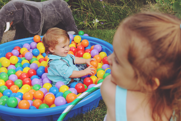 Birthday boy in the ball pit