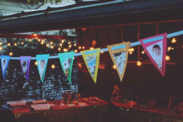 Party lights and pennant with vintage illustrations