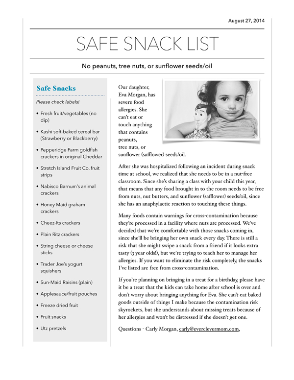Nut allergy safe snack list for schools - parenting kids with food allergies is so complicated!