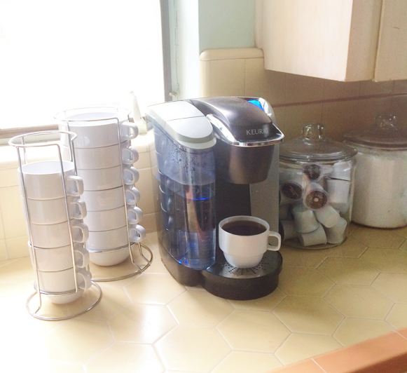 Create a simple coffee bar in your kitchen. http://everclevermom.com/2014/09/treat-yourself-create-a-coffee-bar-in-your-kitchen/