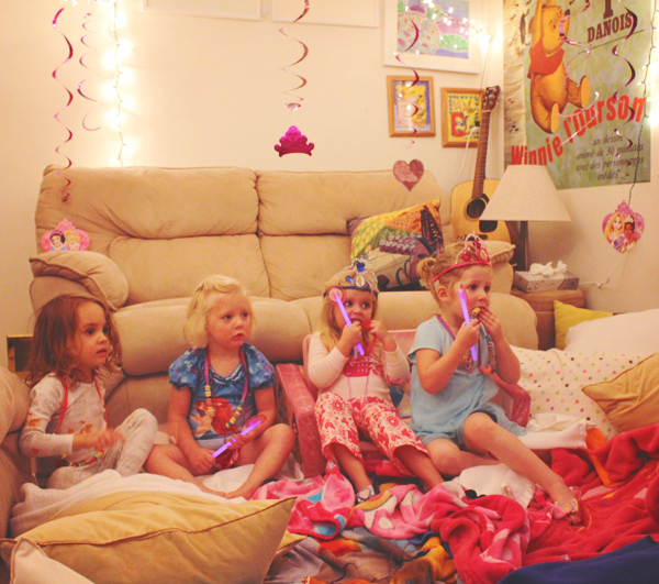 Disney Princess Slumber Party guests in their pajamas #DisneyBeauties #shop