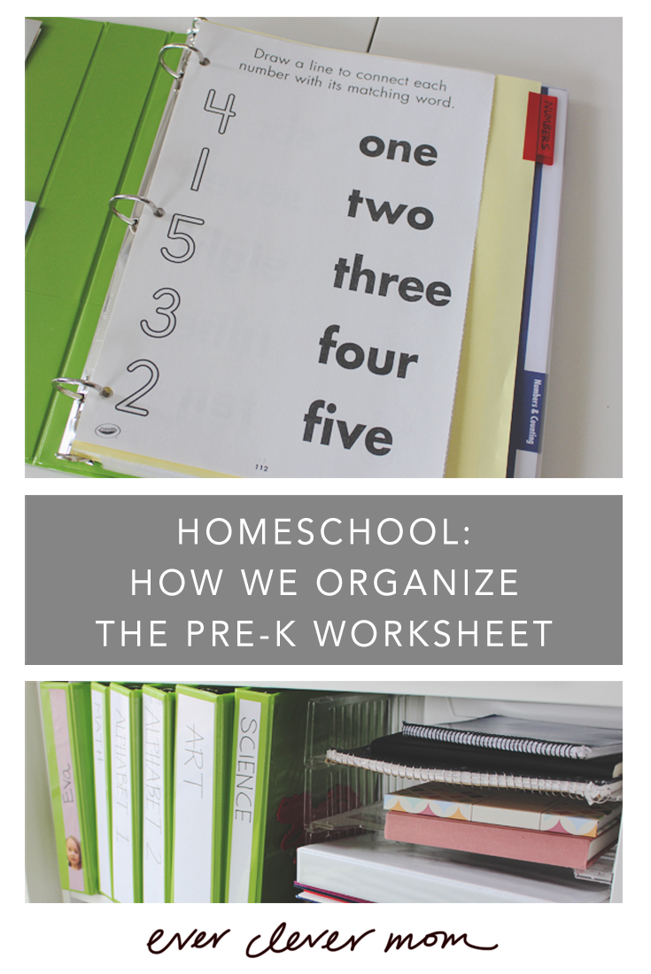 Homeschool- How We Organize the Pre-K Worksheet Binders