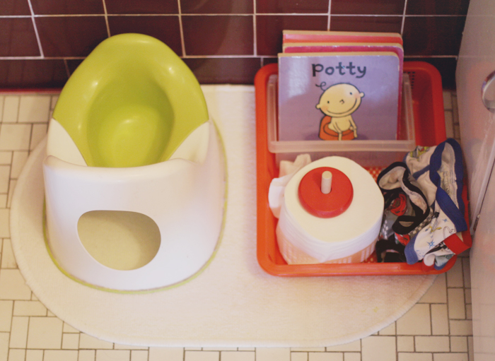 Potty station on IKEA rug