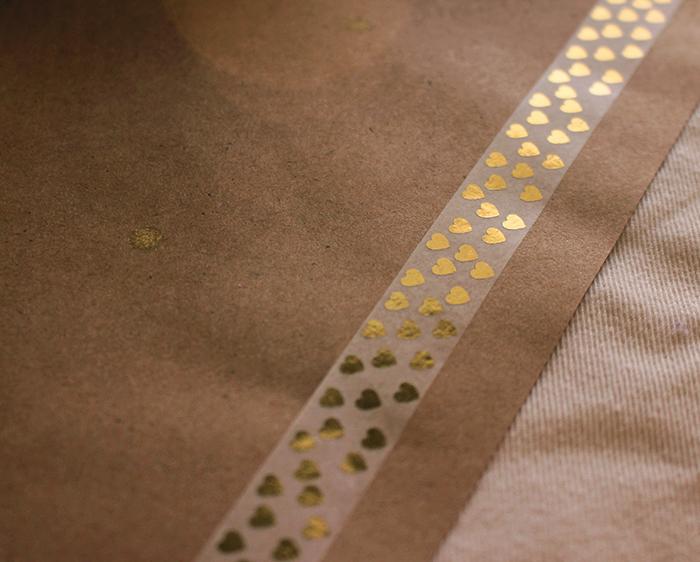 Paper washi tape border on kraft paper runner