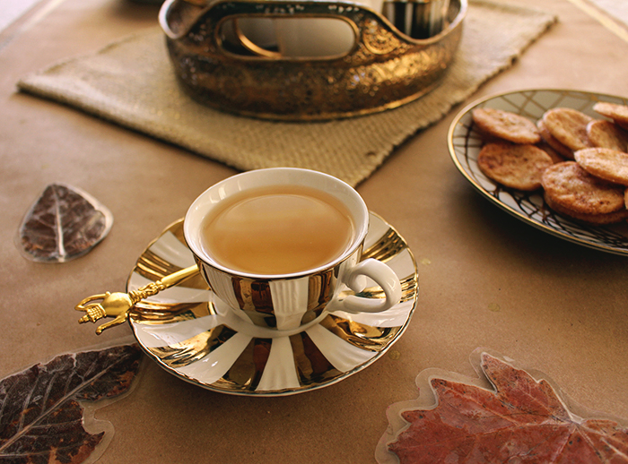 Gold and white teacup