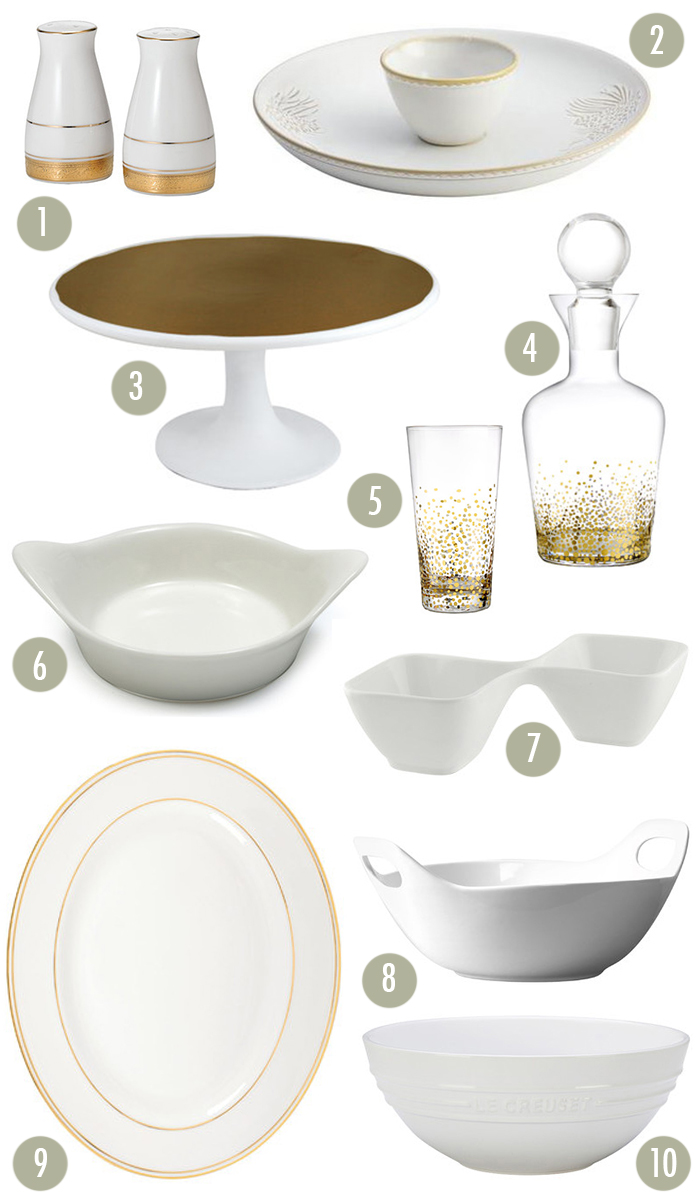 Gold and White Dishes from Wayfair