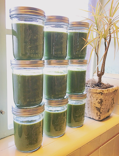 Frozen green smoothies